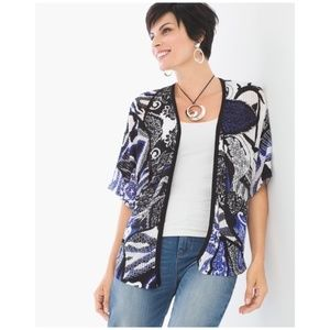 Chico's • graphic paisley open front cardigan